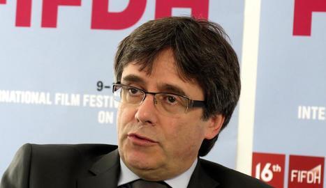 Carles Puigdemont, durant la seua intervenció a Ginebra.