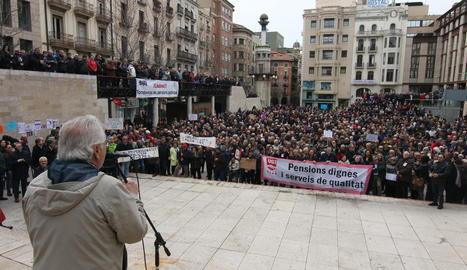 Imatge de la protesta de pensionistes dissabte passat a la capital del Segrià.