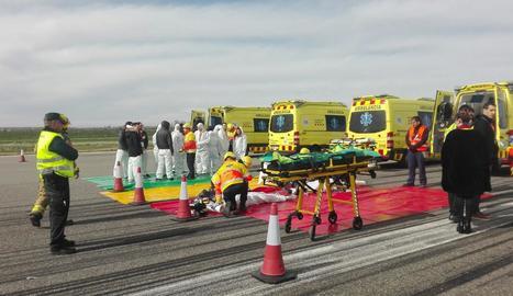 El simulacre que va tenir lloc ahir a l'aeroport d'Alguaire.