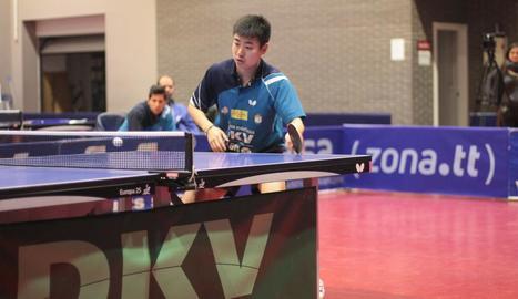 Fan Chuang Wei, durant un dels partits que va jugar ahir.