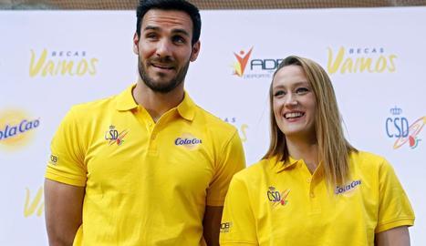 Craviotto va assistir a un acte amb la nadadora Mireia Belmonte.
