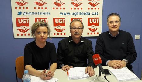 Alicia Buil, Antonio Rodríguez i José Luis Aguilà, ahir en roda de premsa.