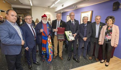 Jaume Ribera, Claudi Bosch, l'avi del Barça, Bonjoch, Cardoner i Alfonseda, entre altres, ahir a l'acte.