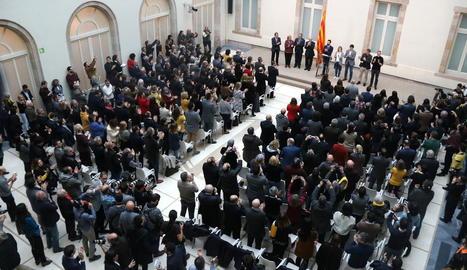 El president del Parlament, Roger Torrent, durant el seu discurs en el qual va demanar formar un front comú contra la repressió de l'Estat.