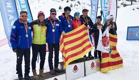 El primer equip català, format pels lleidatans Sergi Brau, Marta Cester i Jaume Pueyo, va ser campió absolut en relleus.