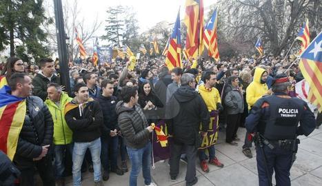 Protestas en Lleida después de la detención de Puigdemont