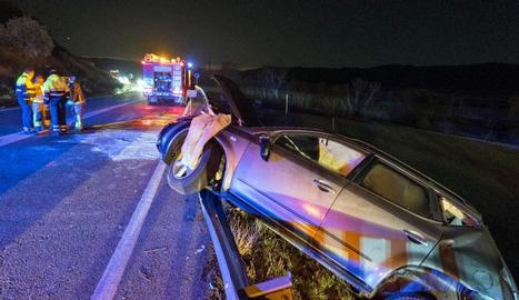 Imatge d'un dels dos cotxes implicats en el segon dels accidents de Torà.