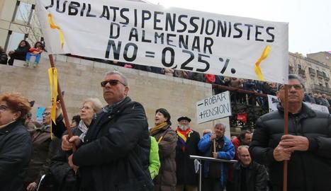 La manifestació de jubilats i pensionistes el dia 17 passat a Lleida.