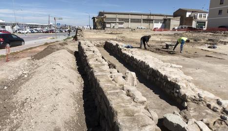 La zona on s'han trobat les restes de l'edifici de l'època imperial romana.
