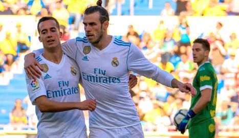 Gareth Bale celebra un dels seus gols amb Lucas Vázquez.