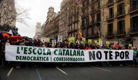 Manifestació a favor de la immersió el 17 de març.