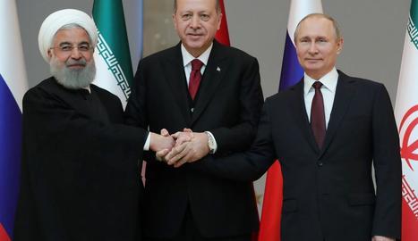 Imatge dels líders iranià, turc i rus.