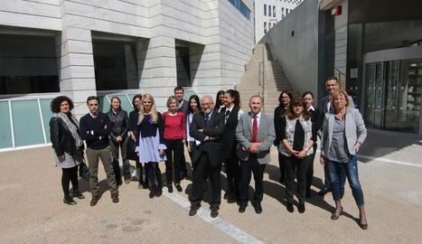 Jutges i fiscals, ahir a la concentració als jutjats de Lleida.