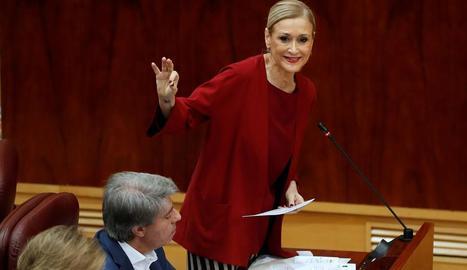 La presidenta madrilenya, Cristina Cifuentes, ahir a l'Assemblea.