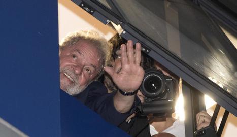 L'expresident brasiler Luiz Inácio Lula da Silva, a la seu del Sindicat Metal·lúrgic.