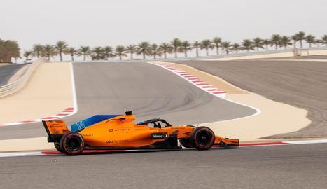 Fernando Alonso, durant la sessió d'ahir.