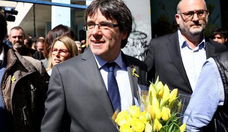 Carles Puigdemont, al sortir de la roda de premsa a Berlín.