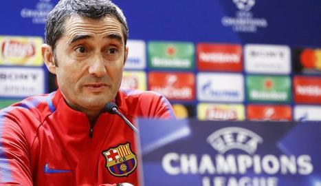 Ernesto Valverde, durant la roda de premsa que va oferir ahir a l'Olímpic de Roma.