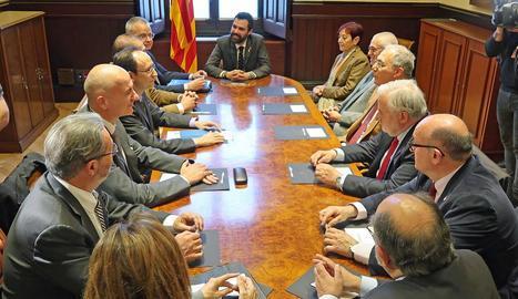 El president del Parlament, Roger Torrent, es va reunir ahir amb rectors de les universitats catalanes.