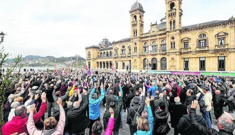 Protesta ahir de pensionistes en Sant Sebastià.