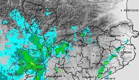 Imatge del radar meteorològic a les sis de la tarda, amb el front de precipitació entrant