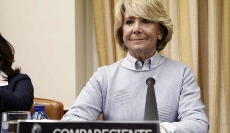L'expresidenta madrilenya, Esperanza Aguirre, ahir.