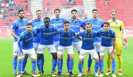 L'onze del Lleida que va jugar diumenge a Mallorca.