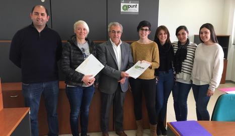 Els promotors de la iniciativa al CEI de les Borges.