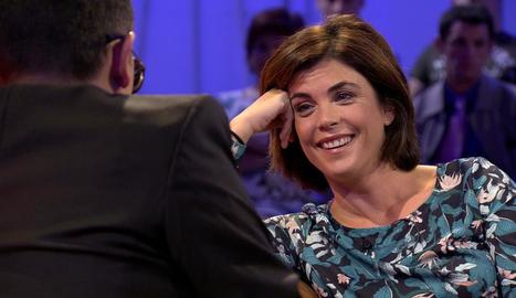Samanta Villar, durant l'entrevista al programa 'Chester' de Risto Mejide, també a Cuatro.
