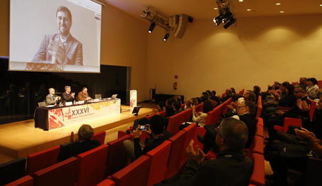 El conseller cessat Toni Comín va inaugurar oficialment el congrés per videoconferència.