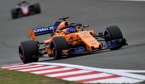 Fernando Alonso, durant una de les sessions d'entrenament d'ahir.