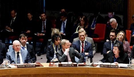 Imatge de la reunió mantinguda ahir pel Consell de Seguretat de l'ONU, a Nova York.