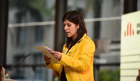 La portaveu d'ERC, Marta Vilalta, al llegir la carta de Junqueras.