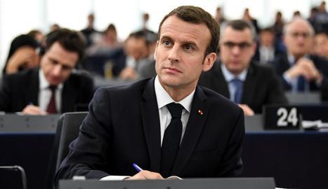 El president francès, Emmanuel Macron, ahir a Estrasburg.