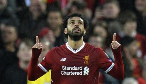 Mohamed Salah, autor de dos dels gols que ahir va marcar el Liverpool a la Roma.
