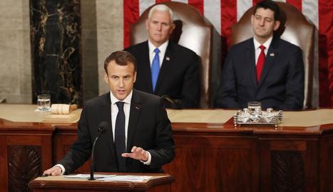 Emmanuel Macron durant el discurs davant del Congrés dels EUA.