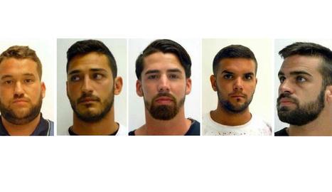 Els condemnats José Ángel Prenda, Alfonso Jesús Cabezuelo, Jesús Escudero, Ángel Boza i Antonio Manuel Guerrero