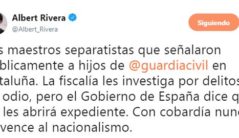 El tweet polèmic d'Albert Rivera assenyalant a professors d'institut.