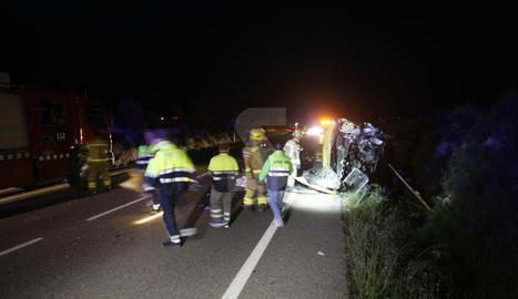 Dos morts en un accident de trànsit a la C-12 a Llardecans