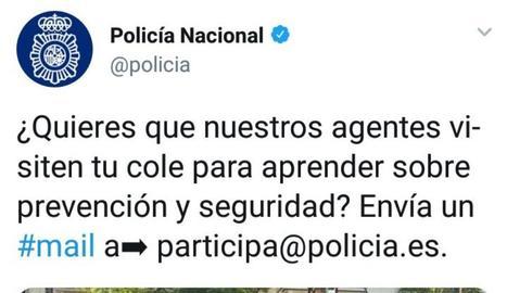 Tweet polèmic de la Policia Nacional.