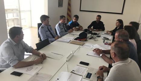 Reunió ahir de la Junta Local de Seguretat d'Alcarràs, sense la presència de la Guàrdia Civil.