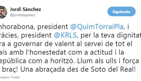 Jordi Sánchez felicita a Quim Torra