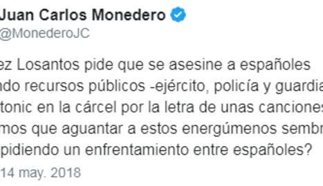 Monedero respon per twitter a les declaracions de Jiménez Losantos