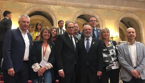 Torra, amb Joan Reñé i Marc Solsona, entre altres polítics lleidatans.
