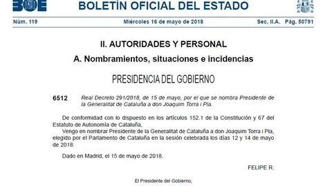 El BOE i el DOGC publiquen el nomenament de Quim Torra com a president