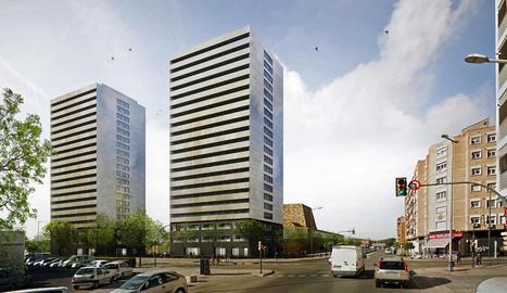 Recreació virtual de les torres d'habitatges previstes al costat de la Llotja.