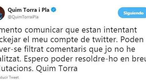 Quim Torra denuncia un intento de 'hackejar' su cuenta de Twitter