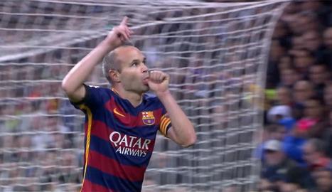 El 8 del Barça, Andrés Iniesta, celebrant un dels seus gols.