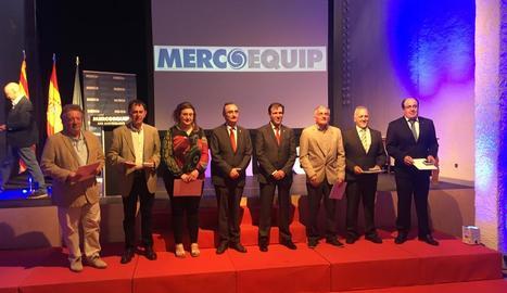 Els directors de Mercoequip que van rebre l'homenatge ahir.