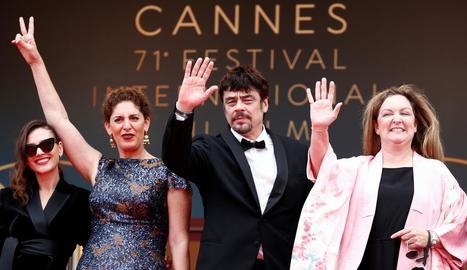 Els membres del jurat de la secció 'Una certa mirada', amb Benicio del Toro com a president.